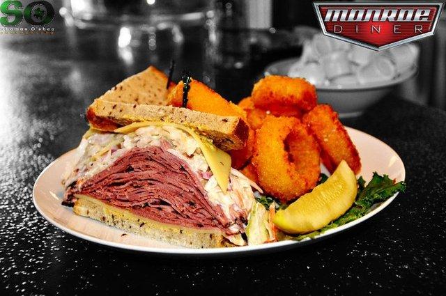Hot pastrami sandwich at Monroe Diner Inc