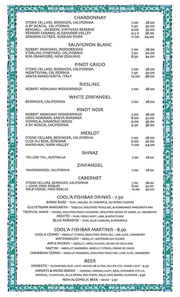 Restaurant Menu at Coola Fish Bar