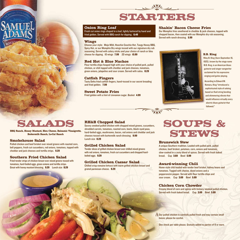 Restaurant Menu at Red Hot & Blue
