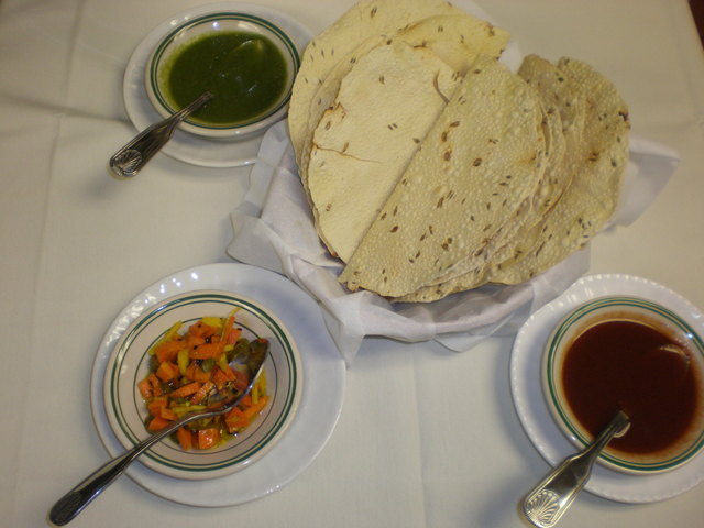 Papadum with mint, tamarind and carrot pickles - Papadum and chutney at India's Tandoori Best Family Cuisine