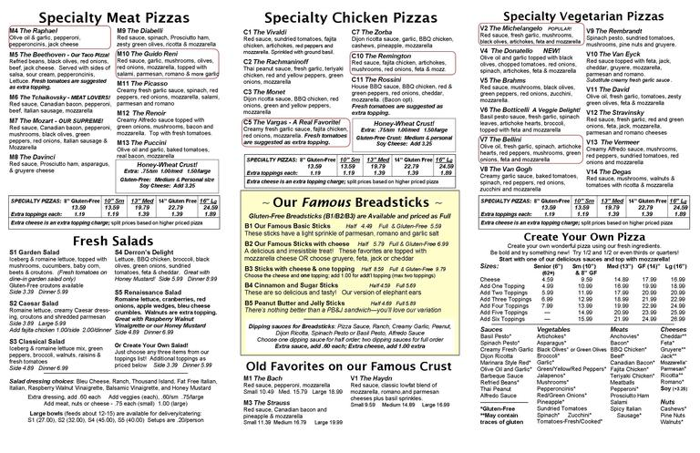Gourmet Vegetarian, Meat and Cheese Choices - Restaurant Menu at Vancouver Pizza CO