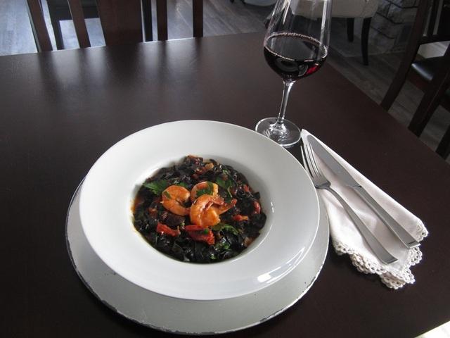 Black ink pasta at Bistro Stasha