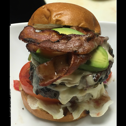 "You'd better come #HUNGRY for our ""Shark Attack"" Fat #Burger w/ DOUBLE meat, pico de gallo, #bacon,  - ""Shark Attack"" Fat Burger at Fat Fish OC"