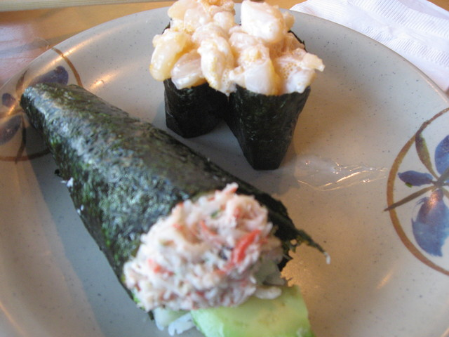 pictured w/ scallop  - Snow Crab Handroll at Tadashi Sushi