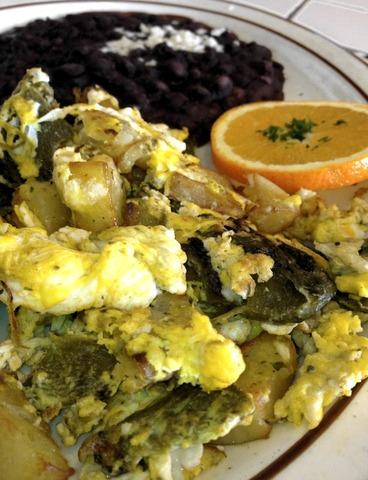 Huevos Poblanos at La Cabanita