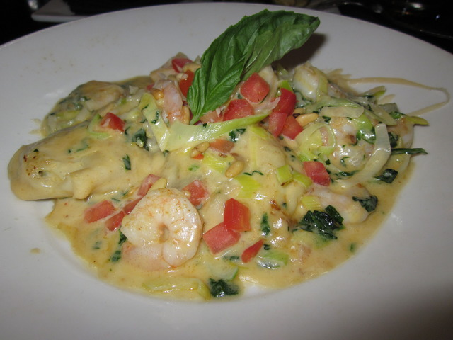 Vegetable Ravioli with Sauteed Shrimp at Devon Seafood + Steak