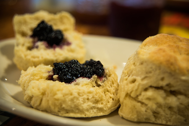 Biscuits with Homemade Blueberry Jam at Joe's Diner