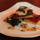 Pan Roasted Colorado Striped Bass: Morales Farms beet and potato gratin, wilted summer greens, warm at Kelly Liken