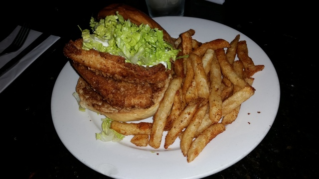 The best sandwich in the world - Catfish sandwich with spicy fries at Juniper
