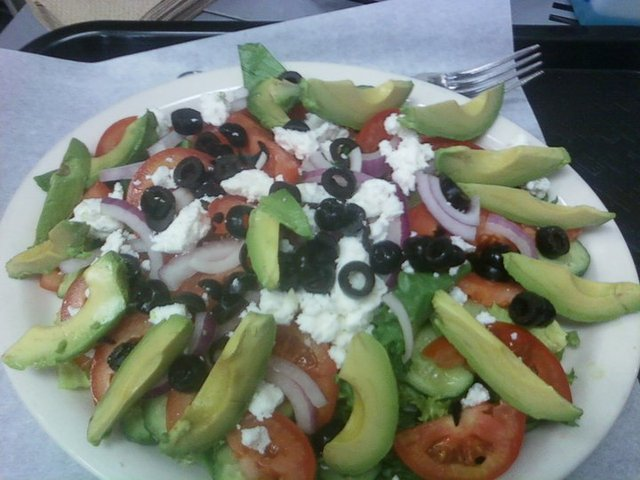 Large Greek with Avocado at Brami's Kosher Pizza