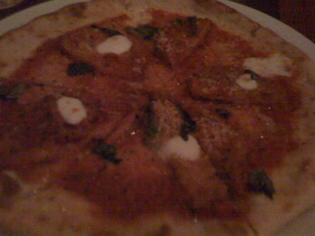 Lots of tomato sauce - Eggplant Parmesan Pizza at Riva