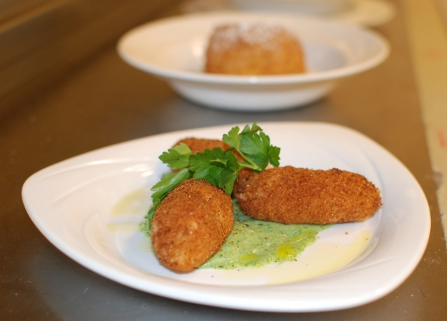Spanish/French fused Serrano Ham Fritters with herb sauce. - First Course at Sikia Restaurant