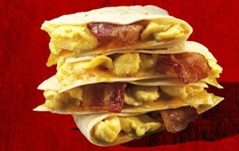 Bacon & Egg Quesadilla at Del Taco