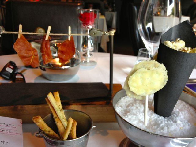 jerky on clothesline, truffle popcorn, cheese lollipops - more free food! at Restaurant Europea
