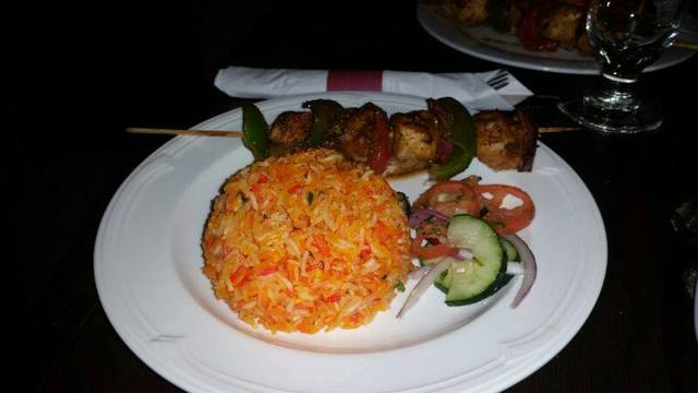 Biriyani with fish kabob at Safari DC