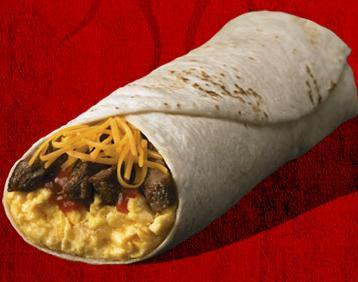 Steak & Egg Burrito at Del Taco