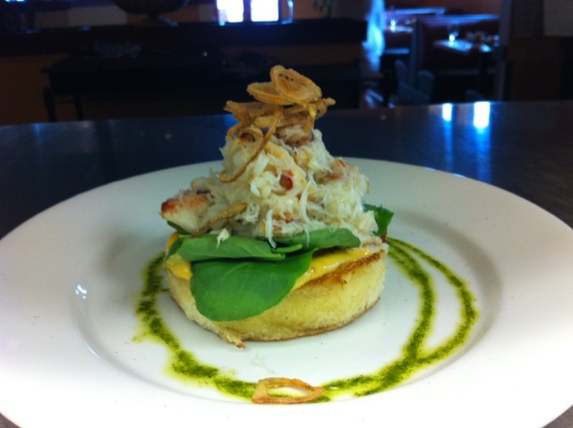 Photo of Dungeness Crab Toast warm brioche, smoked pepper aioli, watercress, olive oil, arugula pesto