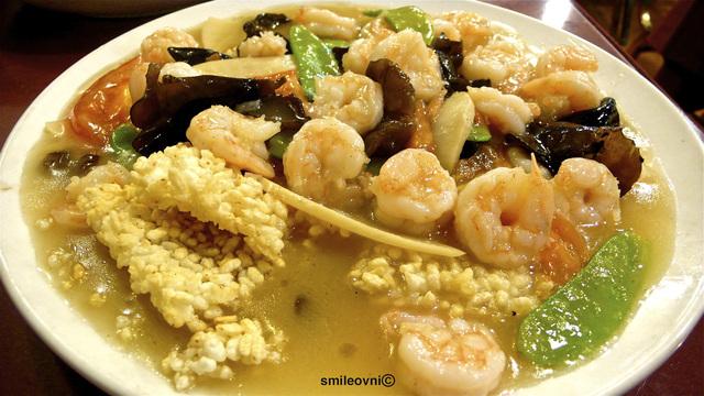 Shrimps on Rice Cakes  at New Golden Szechuan