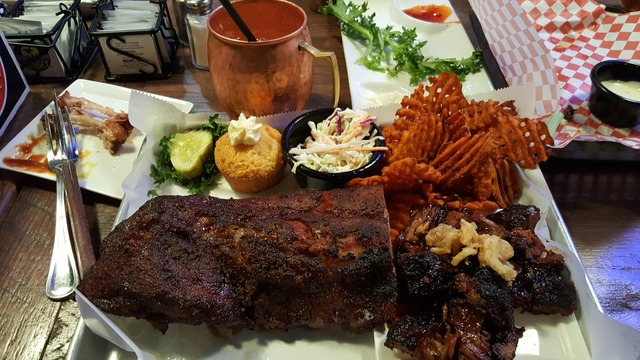 rib and meat combo platter at Double B's Bbq & Burgers