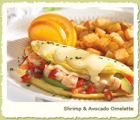 NEW SHRIMP & AVOCADO OMELETE at Coco's Restaurant & Bakery