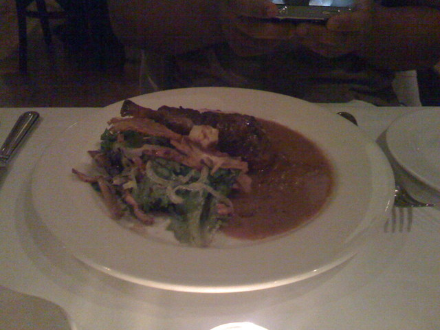 Rabbit Braised in Arneis with Ligurian Chickpea Crepe, Pancetta and Porcini at Cafe Juanita