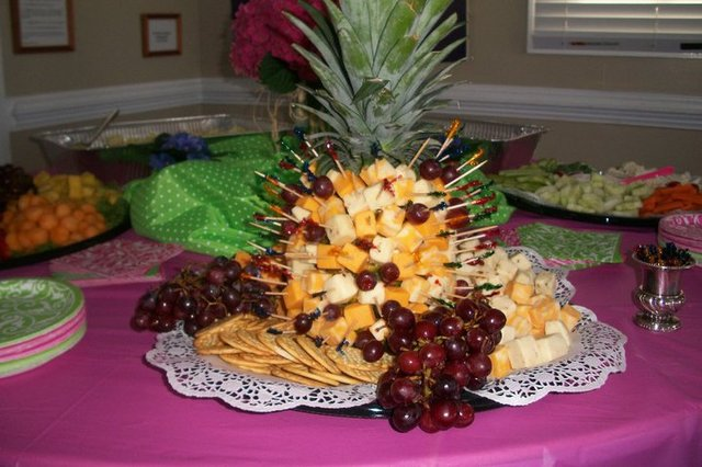 Assorted cheeses, crackers and grapes - Cheese Tray at Rocky Mount Bar-B-Q-House