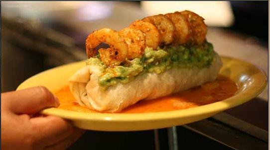 Shrimp Burrito at Straits Restaurant