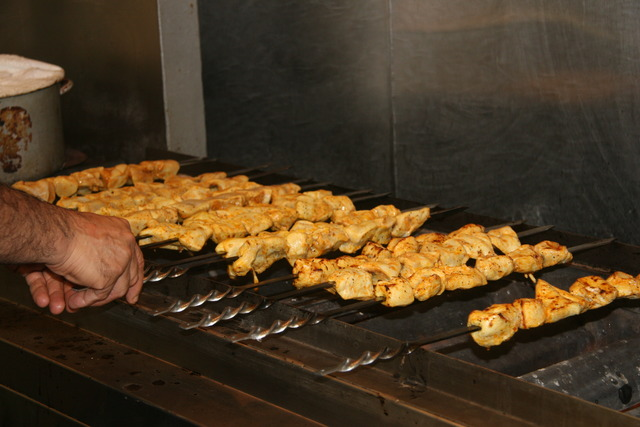 They have an open kabob grill that cooks the meats to perfection - Open Kabob Grill at Mazadar Kabob