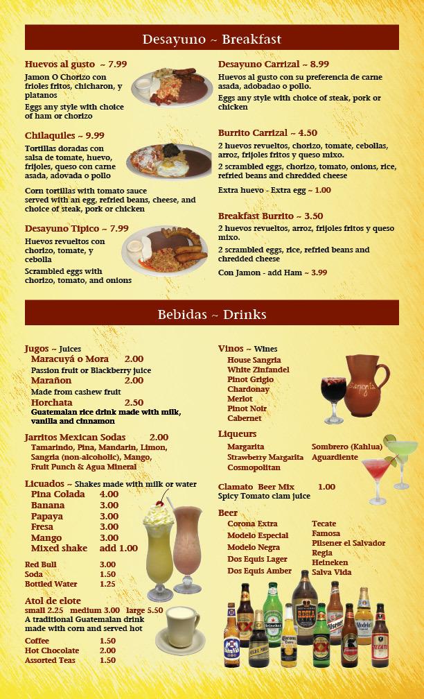 Restaurant Menu at El Taqueria Carrizal