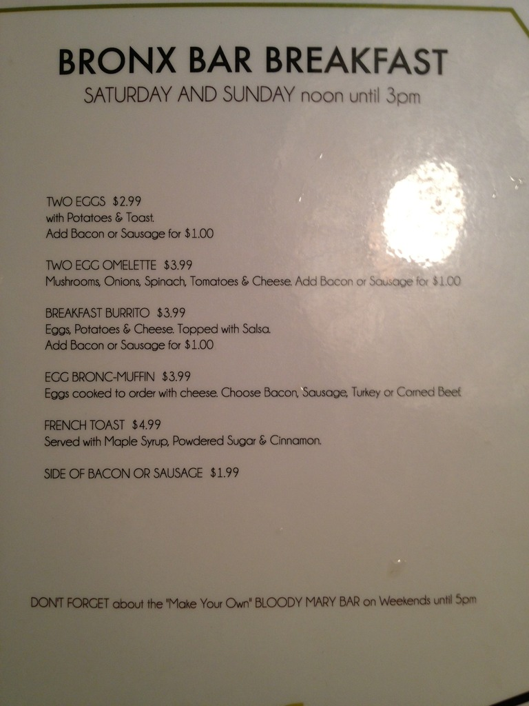 Restaurant Menu at Bronx Bar