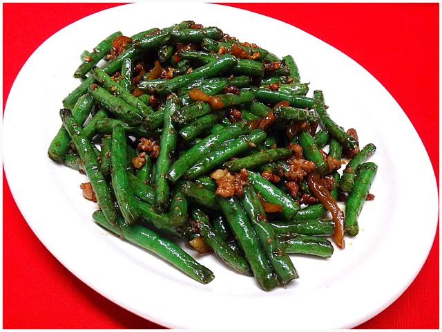Dry Sautéed String Beans with Minced Meat at Kum Fong Restaurant
