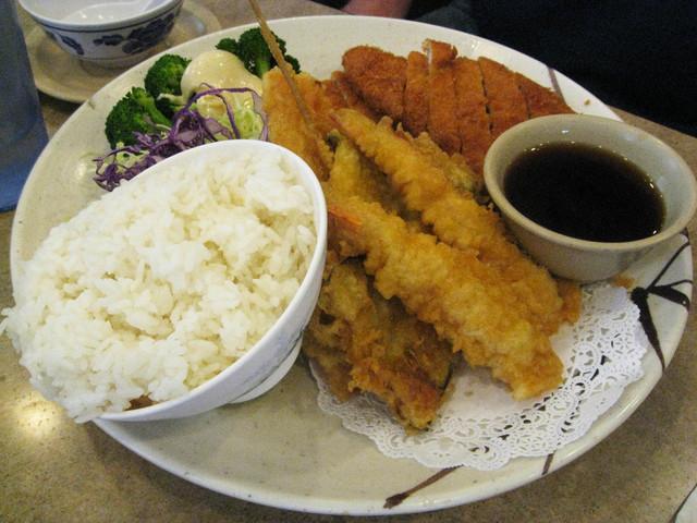 Chicken Katsu with Veggie Tempura at Gardena Bowl Coffee Shop