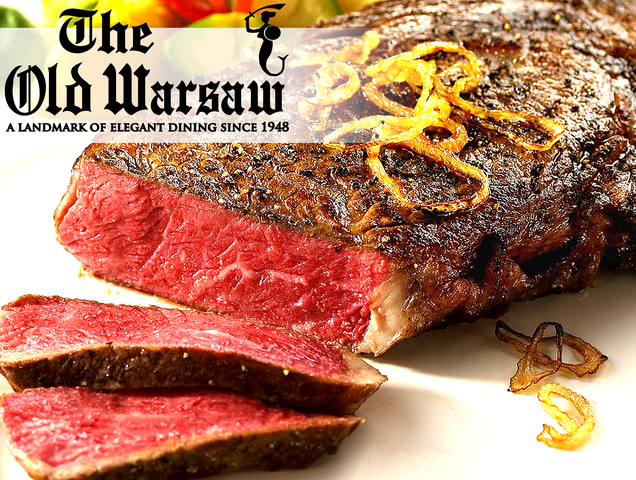 Prime Roasted New York Strip Steak, Cognac Deglazed at Old Warsaw Restaurant