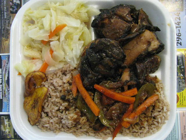 Brown stew chicken at Irie Isle