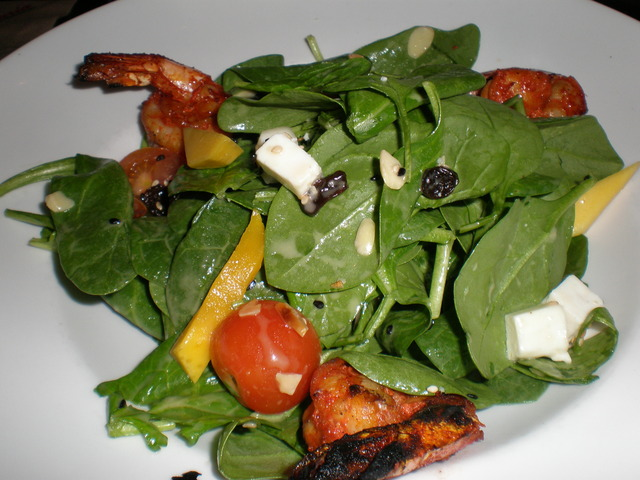 Grilled Shrimp, Spinach and Mango Salad at Maria Maria