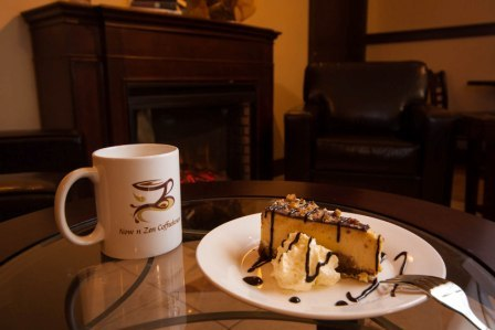 Tastes like a Turtle treat, chocolate, caramel and some other great flavors. - Turtle Cheesecake at Now n Zen Coffee and Tea House