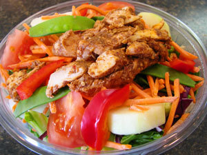 salad with chicken at Wrap Shak