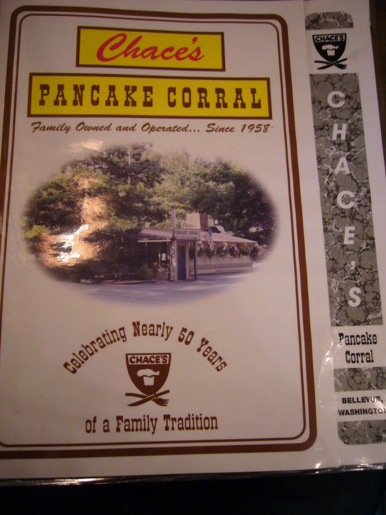 Restaurant Menu at Chace's Pancake Corral