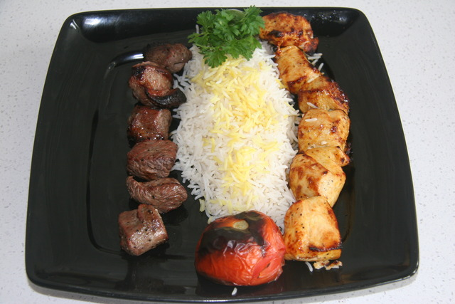 One of their combo dishes - single kabobs are under $11.00 - Lamb & Chicken Sultinies (Combo) at Mazadar Kabob