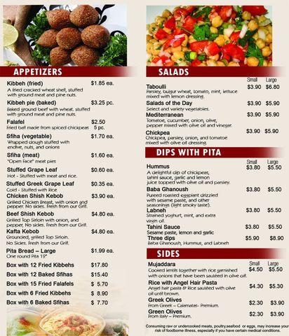 Taboulli Restaurant's Menu.  Price varies, but the average is 10 bucks. Really good food! - Menu at Taboulli Restaurant
