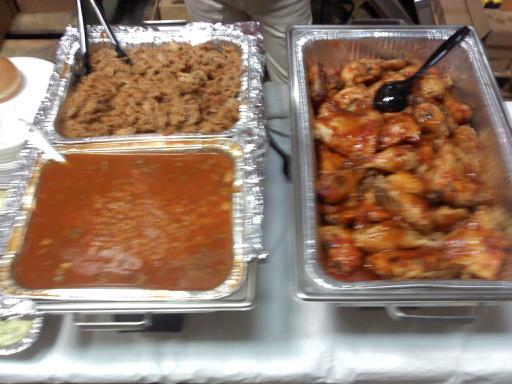 Office party 2011 - BBQ Chicken, N.C. style BBQ and Baked Beans at Rocky Mount Bar-B-Q-House