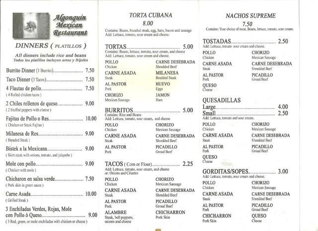 Menu - Photo at Algonquin Mexican Restaurant