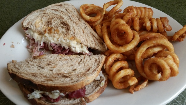 Reuben with curly fries at Vince's Pizza