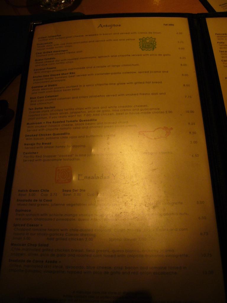 Restaurant Menu at Cactus Restaurant