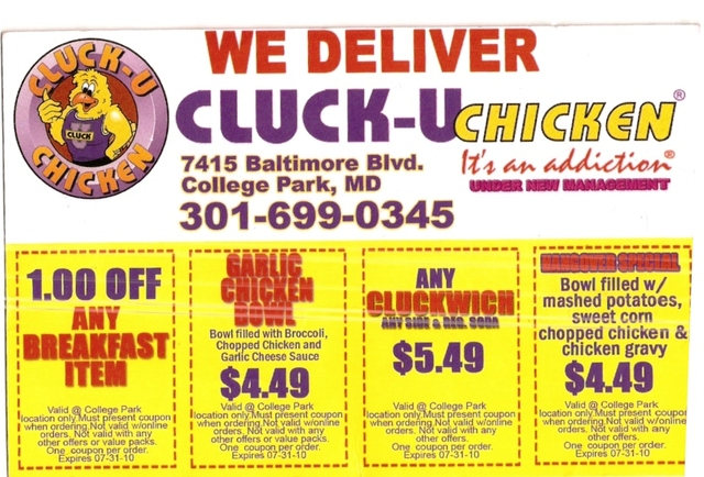 Coupons at Cluck U Chicken
