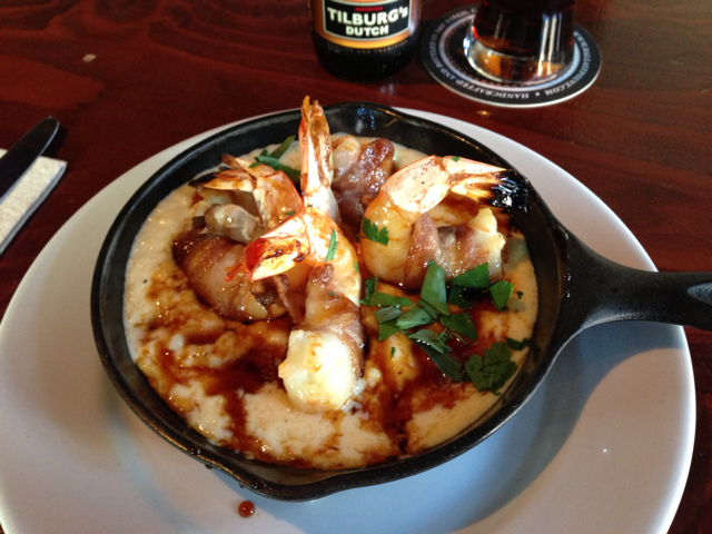 Candied Bacon Wrapped Shrimp in Whipped Polenta at The Monk's Kettle