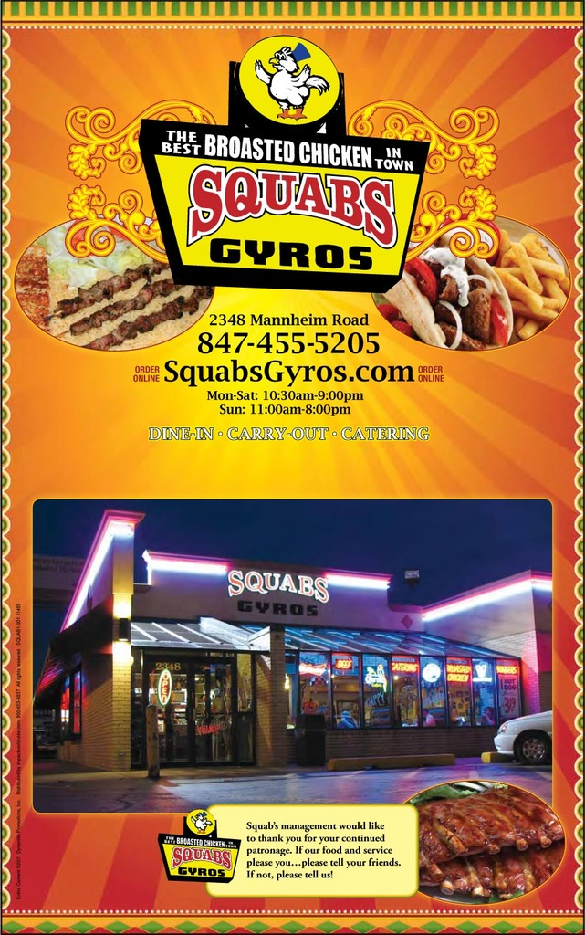 Restaurant Menu at Squabs Gyros
