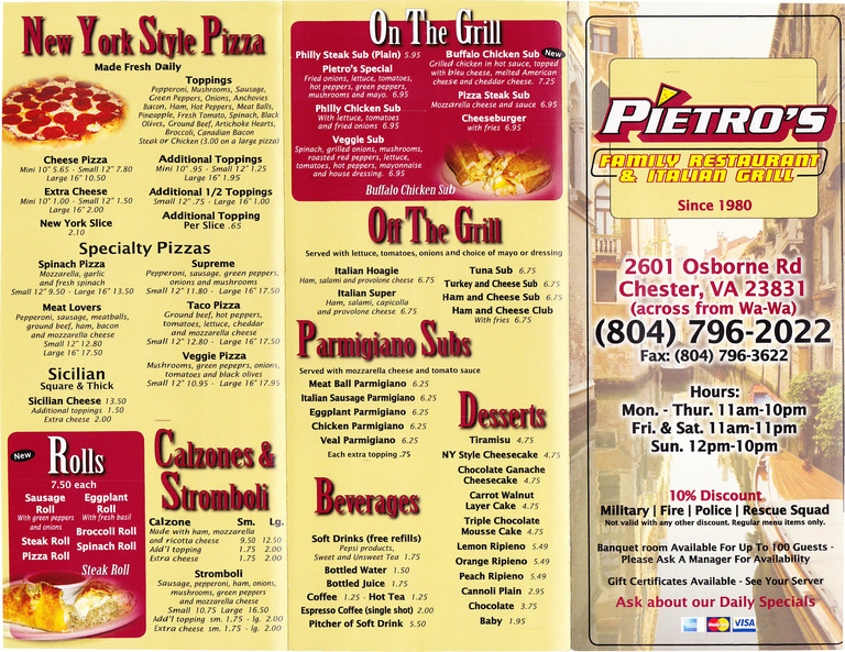 Restaurant Menu at Pietro's Pizza