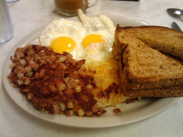 Photo of 2 eggs with American Fries or Hashbrowns and Wheat Toast