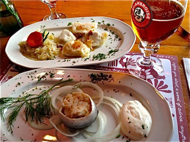 pierogies and pickled herring at Stash Cafe